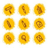 Stationery icons set Stock Photos