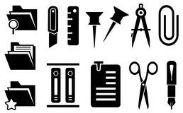 Stationery icons set Royalty Free Stock Photography