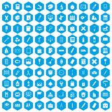 100 stationery icons set blue. 100 stationery icons set in blue hexagon isolated vector illustration Vector Illustration