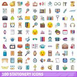 100 stationery icons set, cartoon style. 100 stationery icons set. Cartoon illustration of 100 stationery vector icons isolated on white background royalty free illustration