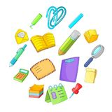 Stationery icons set, cartoon style. Stationery icons set. Cartoon illustration of 16 stationery vector icons for web Royalty Free Stock Images