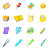 Stationery icons set, cartoon style. Stationery icons set. Cartoon illustration of 16 stationery vector icons for web royalty free illustration