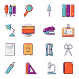 Stationery icons set, cartoon style. Stationery icons set. Cartoon illustration of 16 stationery vector icons for web Stock Photo