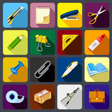 Stationery icons set, flat style. Stationery icons set. Flat illustration of 16 stationery vector icons for web Stock Images