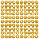 100 stationery icons set gold. 100 stationery icons set in gold circle isolated on white vector illustration Stock Photo