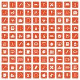 100 stationery icons set grunge orange. 100 stationery icons set in grunge style orange color isolated on white background vector illustration Stock Images