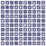 100 stationery icons set grunge sapphire. 100 stationery icons set in grunge style sapphire color isolated on white background vector illustration Stock Photo