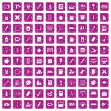 100 stationery icons set grunge pink Stock Photo