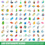 100 stationery icons set, isometric 3d style Royalty Free Stock Image