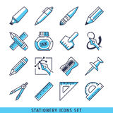 Stationery icons set lines blue vector illustration Royalty Free Stock Photos