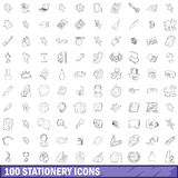 100 stationery icons set, outline style. 100 stationery icons set in outline style for any design vector illustration Royalty Free Stock Image