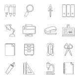 Stationery icons set, outline style. Stationery icons set. Outline illustration of 16 stationery vector icons for web stock illustration