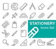 Stationery icons set. Outline Style, Vector illustration royalty free illustration