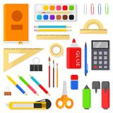 Stationery icons set - rulers, pens, pencils, markers, brushes, paints, watercolor, calculator and other items. School. And office supplies isolated on white Royalty Free Stock Photos