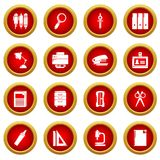 Stationery icons set, simple style. Stationery icons set. Simple illustration of 16 stationery vector icons for web stock illustration