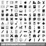100 stationery icons set, simple style. 100 stationery icons set in simple style for any design vector illustration Vector Illustration