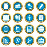 Stationery icons set, simple style. Stationery icons set. Simple illustration of 16 stationery vector icons for web vector illustration