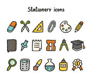 Stationery icons. Set of 18 things vector illustration