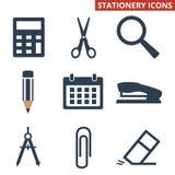 Stationery icons set on white background. royalty free illustration