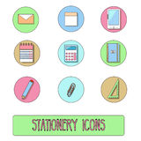 Stationery icons. Vector symbols of office objects, hand drawn style Stock Image