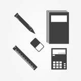 Stationery Icons for working on white background. Stationery Icons for working on white background includes ruler,rubber,pen and book. Vector Design Stock Photography