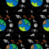 Stationery III. A seamless offset pattern with space exploration themes Stock Photo