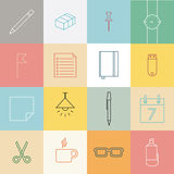 Stationery items flat design Stock Photos