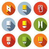 Stationery items icon set Stock Image