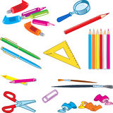 Stationery items. The illustration shows a several species stationery items. Objects isolated on white background on separate layers Royalty Free Stock Photography