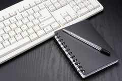 Stationery and keyboard Stock Image