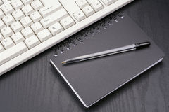 Stationery and keyboard Stock Photos