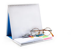 Stationery. Leaflets for important records, pen,push pins, glasses on white background Royalty Free Stock Images