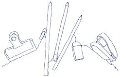 Stationery Line Drawing. Organic line drawing of a handful of stationery royalty free illustration