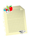 Stationery on lined paper on white background Stock Photography