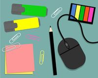Stationery: markers, stickers, pencil and computer mouse Royalty Free Stock Image