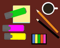 Stationery: markers, stickers, pencils. Top view Stock Photos