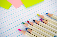 Stationery and Notebook paper with lines. Royalty Free Stock Photos