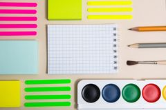 Stationery with a notebook. royalty free stock photo