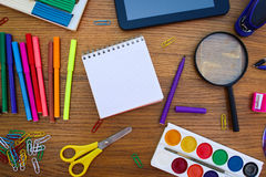 Stationery objects. Office and school supplies on the table. Royalty Free Stock Photo