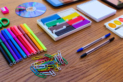Stationery objects. Office and school supplies on the table. back to school. Royalty Free Stock Images