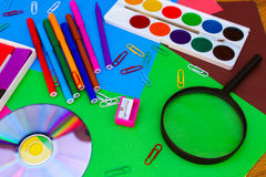 Stationery objects. School and office supplies Stock Images