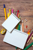 Stationery objects. On wooden background Stock Images