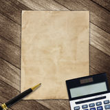 Stationery office equipment and paper on wooden background Stock Photo