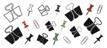 Stationery office paper pins and clips set Stock Images