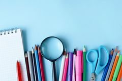 Stationery office school college accessories supplies. Back to school. place for text royalty free stock image