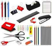 Stationery Office and School Items Set Collection Stock Photos