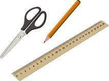Stationery Office and School Items Set Collection including pencil scissors ruler Royalty Free Stock Photo