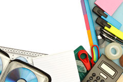 Stationery and office supplies. University student stationery or modern office supplies arranged on a desktop with blank area for text Royalty Free Stock Photography