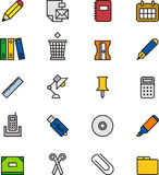 Stationery and office supplies icons Stock Photography