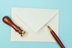 Stationery and office supplies postal envelope. Stock Photos